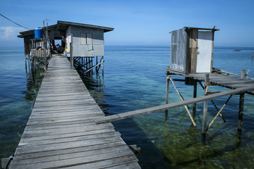 outdoor toilet stilt house mabul island