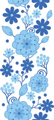 Vector Delft blue Holland flowers elegant vertical seamless