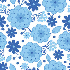 Vector Delft blue Holland flowers elegant seamless pattern