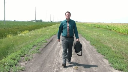 Businessman on Dirt Road Needs Biz Leads
