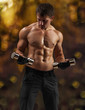 a muscular male training