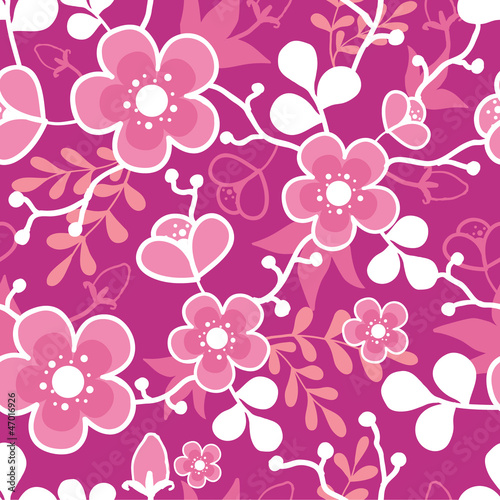 Vector Pink Sakura Blossom Seamless Pattern Background with
