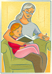 Elderly  woman reading a book with a young girl
