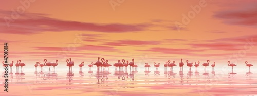 Flock of flamingos - 3D render