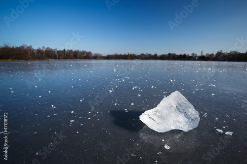 Freezing winter temperatures: block of ice lying on the surface