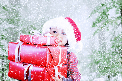 Your christmas presents on snow background