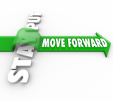 Stay Put Vs Move Forward Words Arrow Progress to Goal poster