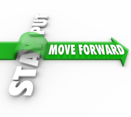 Stay Put Vs Move Forward Words Arrow Progress to Goal