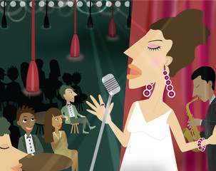 woman singing in a night club with an audience