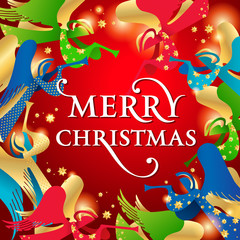 Christmas card with Angels on a red background