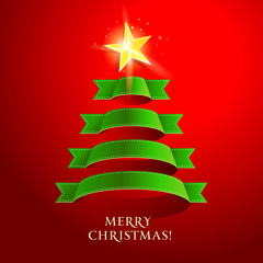 Christmas tree on a red background. Vector illustration.