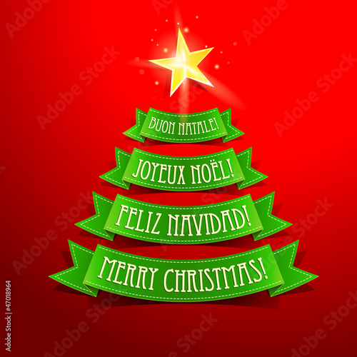 Christmas tree with greetings in different languages