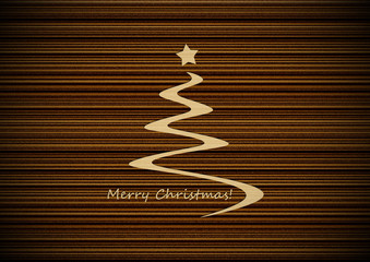 Christmas tree with plywood background