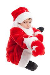 boy dressed as Santa Claus, isolation