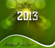 Happy new year 2013 green colorful celebration circle vector bac