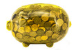 Clear Yellow Piggy Bank Stuffed With American Pennies
