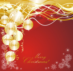 Christmas red background with golden evening balls