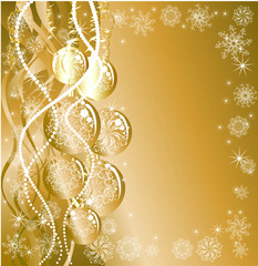 Christmas background with golden evening balls
