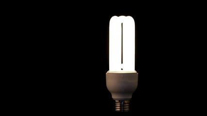 Blinking Light Bulb on black background