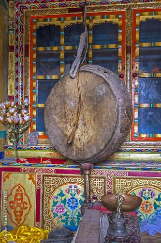 Gebetstrommel in einem Buddhisten-Tempel, Ladakh