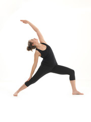 demonstration of yoga pose