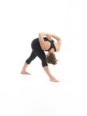 demonstration of contorting yoga posture