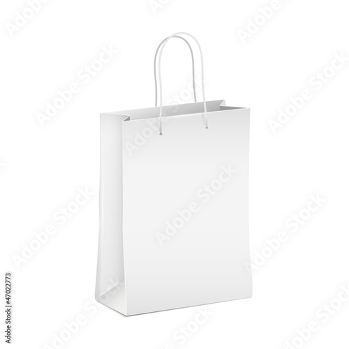 Empty white shopping paper bag