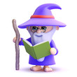 Wizard reads his spell book