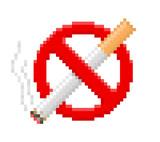 Pixel no smoking sign. Vector illustration.