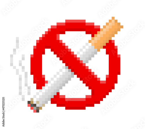 Foto op Canvas Pixel Pixel no smoking sign. Vector illustration.