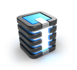Server storage database icon over white