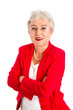 Leinwanddruck Bild - Ältere Dame mit Brille in Rot