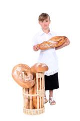 little girl dressed as salesgirl in bakershop