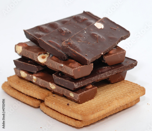 Chocolate,biscuits on a white background