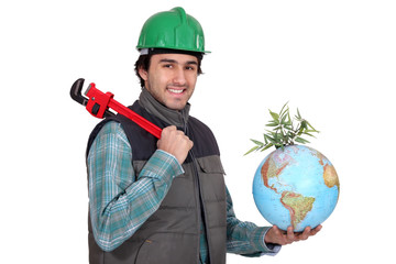 Plumber with a wrench and a globe