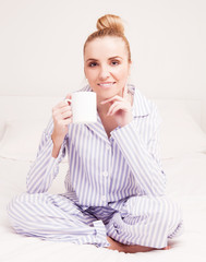 woman wearing pajamas