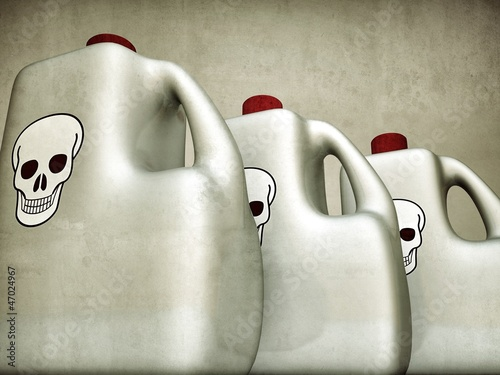 plastic bottles with skull logo