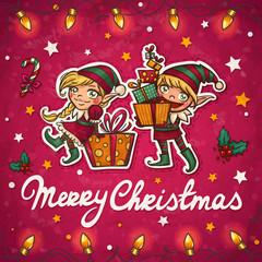 Christmas elfs greeting card