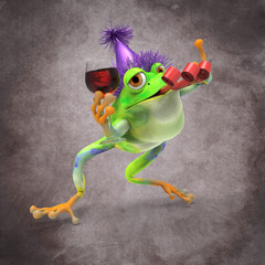 Frog Celebrating with a Glass of Wine