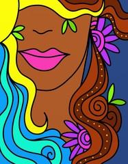 viso di donna con sole