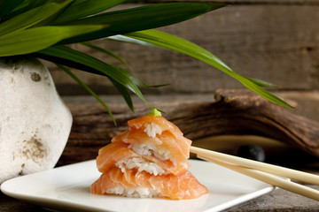 Sushi nigiri salmon closeup like zen stones
