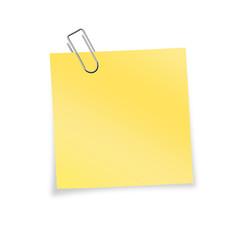 Gelber Notizzettel mit Büroklammer zum selber beschriften