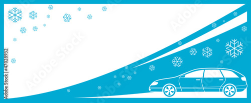 winter background with car and snowflake and place for text