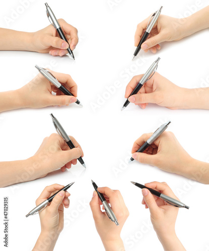 Collage of hands with pens on white background