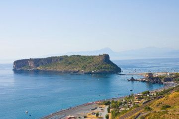 Panoramic view of Praia a Mare. Calabria. Italy.