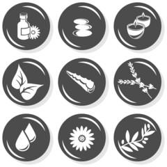 relaks zestaw ilustracji spa masaż monochrom na białym tle