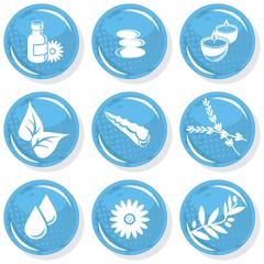 relaks niebieski błyszczący zestaw ikon spa masaż