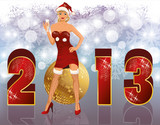 New 2013 year banner with sexual santa girl, vector