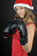 christmas  girl wearing boxing gloves