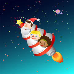 Christmas card with rocket and kids